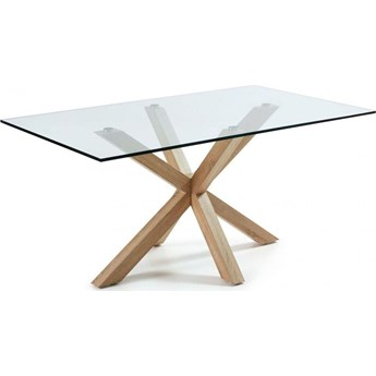 Stól  Argo 180 x 100 cm szklany stalowe nogi z wykonczeniem o efekcie drewna
