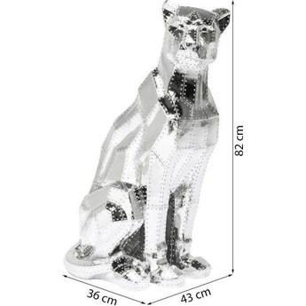 Dekoracja stojąca Sitting Cat 43x82 cm srebrna