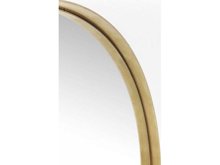 Lustro wiszące Curve Round ∅100 cm mosiężne Okrągłe Ścienne Lustro z ramą Styl Vintage