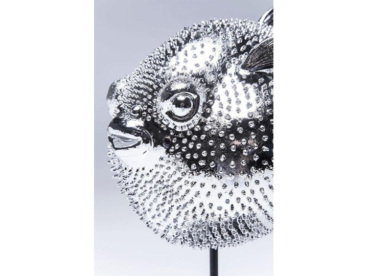 Figurka dekoracyjna Blowfish 24x29 cm srebrna Ryby Kategoria Figury i rzeźby Kolor Szary