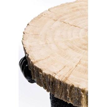 Stolik kawowy Bear Ø33x53 cm czarno-drewniany