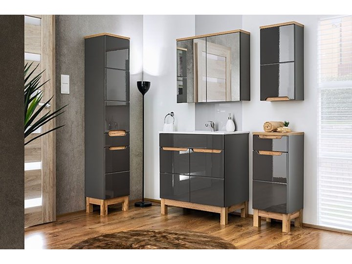 Szafka łazienkowa z lustrem - Marsylia 6X grafit 60 cm Szafki Wiszące Wysokość 70 cm Kolor Srebrny