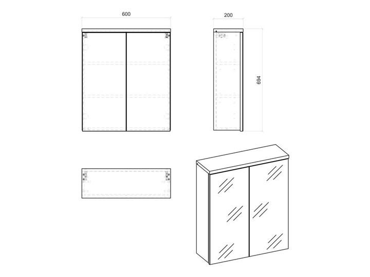 Szafka łazienkowa z lustrem - Marsylia 6X grafit 60 cm Szafki Wysokość 70 cm Wiszące Kategoria Szafki stojące