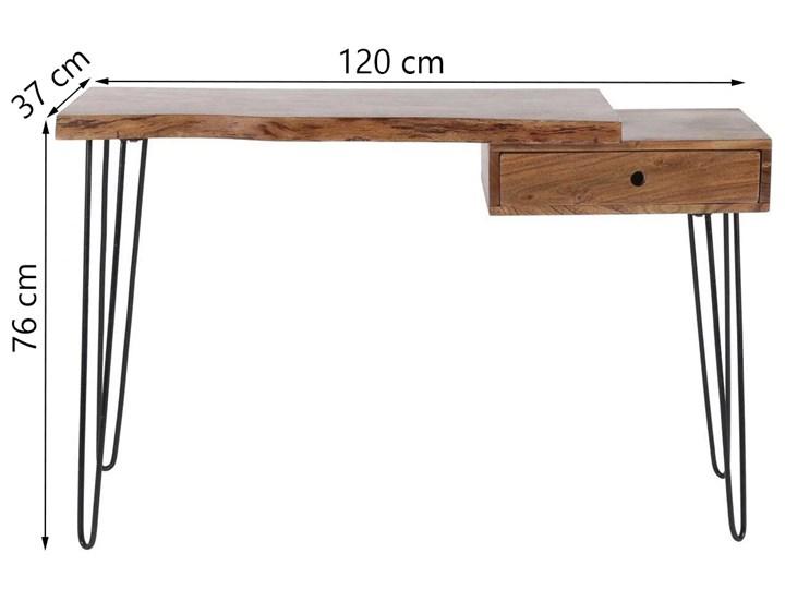 Biurko Live Edge 120x37 cm drewniane Szerokość 120 cm Metal Drewno Styl Industrialny