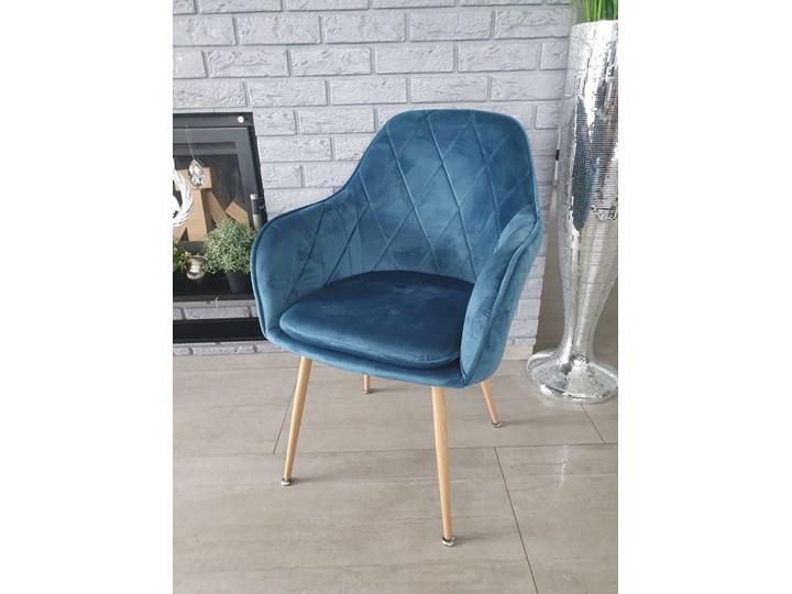 KRZESŁO TAPICEROWANE - BiG 029 WELUR LAZUROWE Metal Drewno Tkanina Kategoria Krzesła kuchenne