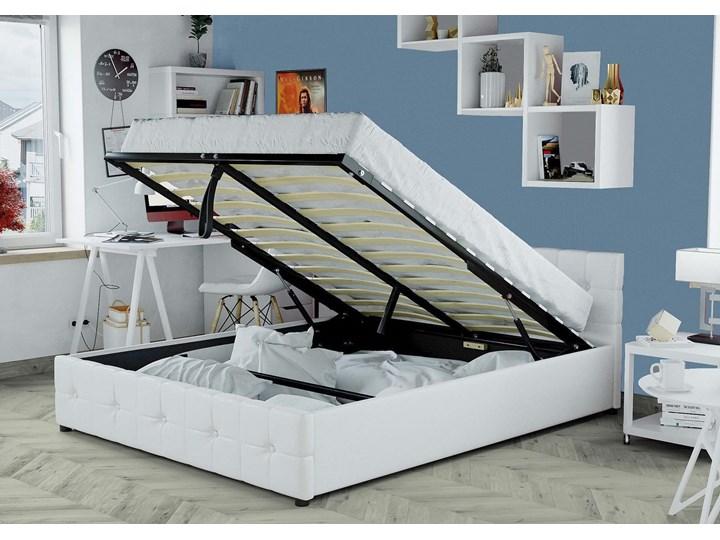 ŁÓŻKO 140X200 Z POJEMNIKIEM - GELA (SFG012A) - EKOSKÓRA BIAŁE Kolor Biały Łóżko tapicerowane Kategoria Łóżka do sypialni