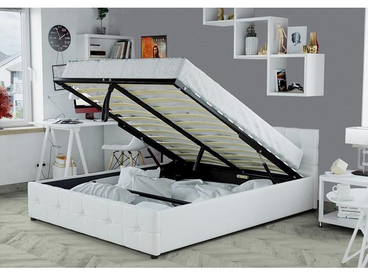 ŁÓŻKO 160X200 Z POJEMNIKIEM - GELA (SFG012A) - EKOSKÓRA BIAŁE Łóżko tapicerowane Kolor Biały Kategoria Łóżka do sypialni