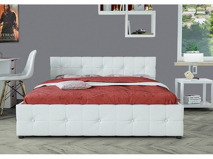 ŁÓŻKO 160X200 Z POJEMNIKIEM - GELA (SFG012A) - EKOSKÓRA BIAŁE Łóżko tapicerowane Kolor Biały