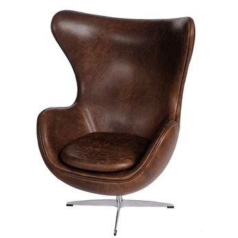 Fotel Jajo brązowy ciemny vintage Premium - Meb24.pl