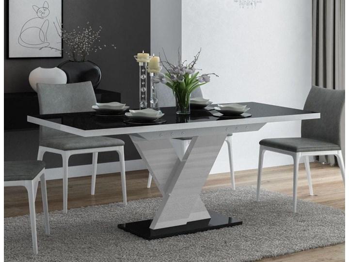 Stół rozkładany Oskar Czarno-biały wysoki połysk - Meb24.pl