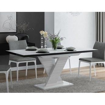 Stół rozkładany Oskar Biało-czarny wysoki połysk - Meb24.pl