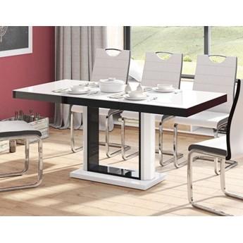 Stół rozkładany QUADRO 120 - 168 cm Biało-czarny mat - Meb24.pl