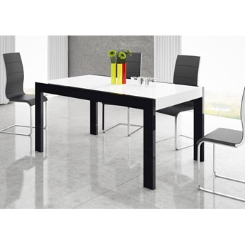 Stół rozkładany IMPERIA 160-260 Czarno-biały połysk - Meb24.pl