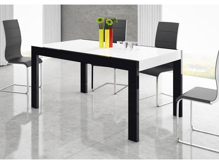 Stół rozkładany IMPERIA 160-260 cm Czarno-biały połysk - Meb24.pl