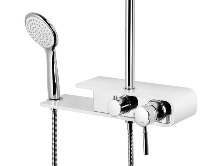 Natryskowa kolumna prysznicowa Corsan Klar Fiber CMN002 biała Wyposażenie Z uchwytem