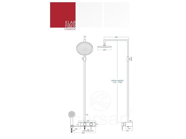 Natryskowa kolumna prysznicowa Corsan Klar Fiber CMN002 biała Wyposażenie Z słuchawką