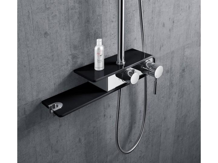 Natryskowa kolumna prysznicowa Corsan Klar Fiber CMN002 czarna Kolor Czarny Wyposażenie Z deszczownicą