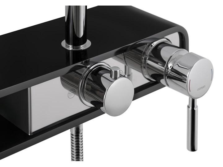 Natryskowa kolumna prysznicowa Corsan Klar Fiber CMN002 czarna Kolor Czarny Wyposażenie Z uchwytem