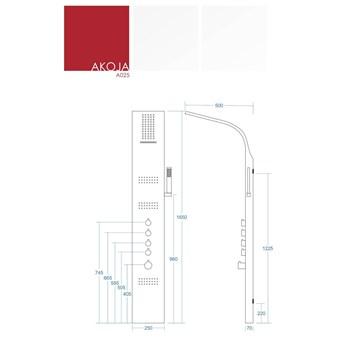 Panel prysznicowy Corsan Akoja A025 gwiezdna szarość z termostatem
