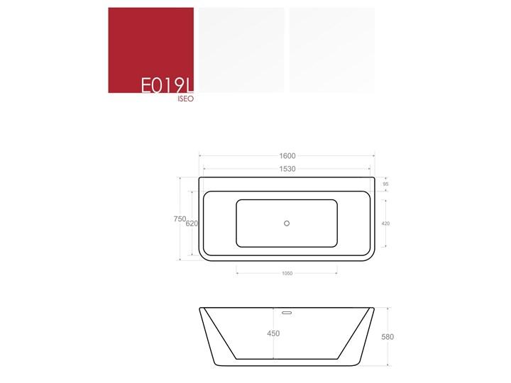 Wanna przyścienna wolnostojąca Corsan E019 Iseo Wolnostojące Akryl Prostokątna Długość 160 cm Stal Kategoria Wanny Kolor Biały