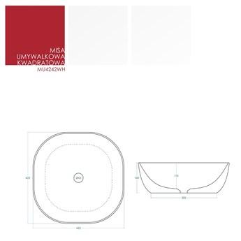 Umywalka nablatowa Corsan MU4242WH kwadratowa biała z korkiem chromowanym