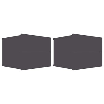 vidaXL Szafki nocne, 2 szt., szare, wysoki połysk, 40x30x30 cm