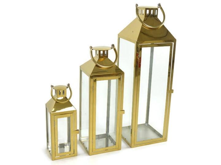 Zestaw 3 metalowych chromowanych latarni Kategoria Lampiony Kolor Złoty