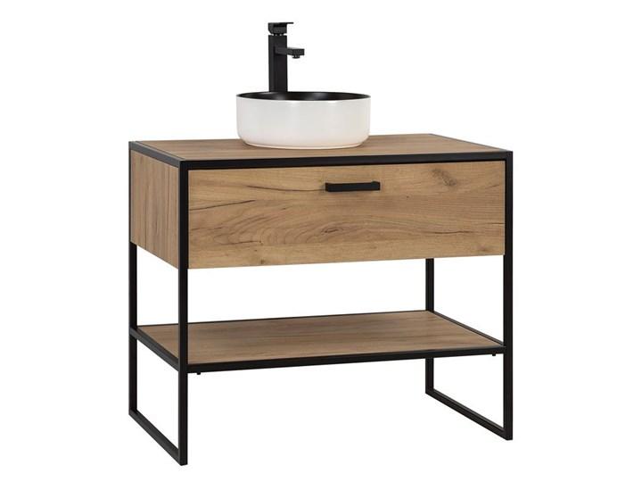 Szafka łazienkowa pod umywalkę dąb craft - Havana 3X 90 cm Szafki Drewno Stojące Wysokość 75 cm Kolor Beżowy