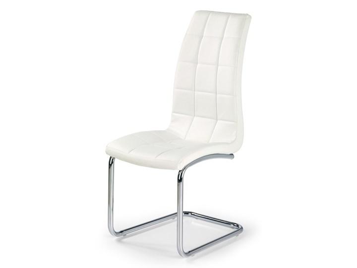 SELSEY Krzesło tapicerowane Svilaj białe Stal Wysokość 103 cm Skóra ekologiczna Tkanina Pikowane Kolor Biały Metal Styl Klasyczny