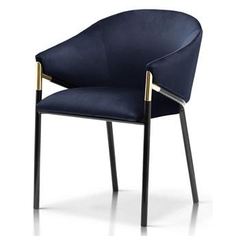 Krzesło Francy granat velvet  / czarno-złoty