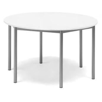 Stół SONITUS, okrągły, Ø1200x720 mm, biały laminat, szary aluminium