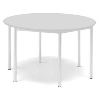 Stół SONITUS, okrągły, Ø1200x720 mm, laminat szary, biały