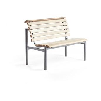 Ławka drewniana AURORA, 1200x700x900 mm, rama srebrny, brzoza