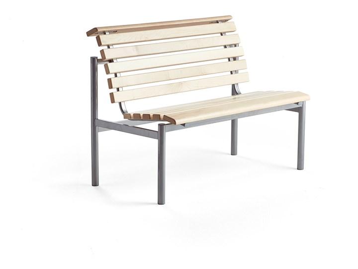 Ławka drewniana AURORA, 1200x700x900 mm, rama srebrny, brzoza Kategoria Ławki do salonu