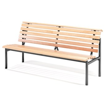 Ławka drewniana AURORA, 1800x700x900 mm, rama czarny, buk