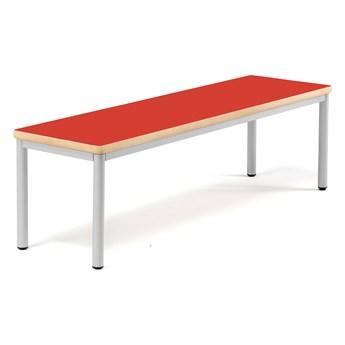 Ławka bez oparcia BURÅS, 1510x420 mm, czerwony, srebrny