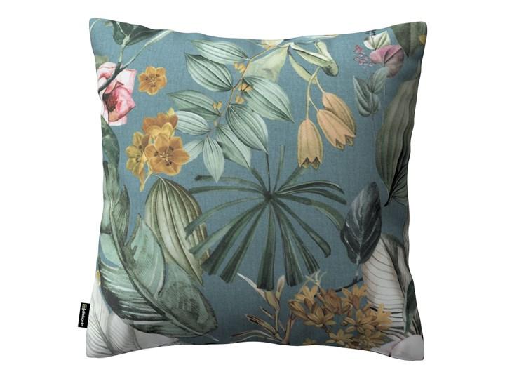 Poszewka Kinga na poduszkę, kwiaty na zielono-niebieskim tle, 43 × 43 cm, Abigail 45x45 cm 45x65 cm Kwadratowe 40x60 cm Poszewka dekoracyjna 50x50 cm Bawełna 43x43 cm 60x60 cm Wzór Z nadrukiem Wzór Roślinny