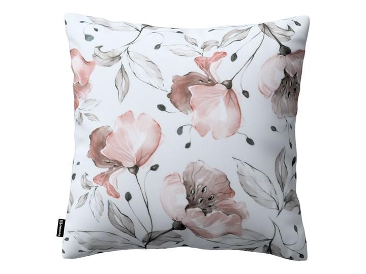 Poszewka Kinga na poduszkę, różowe kwiaty na kremowym tle, 43 × 43 cm, Velvet 50x50 cm 40x60 cm 60x60 cm 45x65 cm Kolor Biały 43x43 cm 45x45 cm Kwadratowe Poliester Poszewka dekoracyjna Pomieszczenie Salon