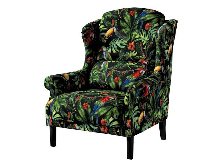 Fotel Unique, papugi i tukany na czarnym tle, 85 × 107 cm, Velvet Tkanina Szerokość 50 cm Głębokość 74 cm Drewno Szerokość 85 cm Głębokość 58 cm Kategoria Fotele do salonu