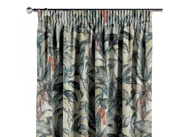 Zasłona na taśmie marszczącej 1 szt., liście w odcieniach zieleni, niebieskiego, czerwieni na beżowym tle, 1szt 130 × 260 cm, Abigail Zasłona zaciemniająca 130x260 cm Bawełna Pomieszczenie Salon
