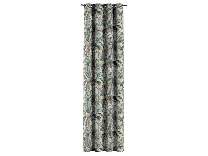 Zasłona na kółkach 1 szt., liście w odcieniach zieleni, niebieskiego, czerwieni na beżowym tle, 1szt 130 × 260 cm, Abigail Bawełna Zasłona zaciemniająca 130x260 cm Pomieszczenie Sypialnia
