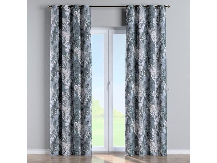 Zasłona na kółkach 1 szt., niebiesko-szare liście na szaro-niebieskim tle, 1szt 130 × 260 cm, Abigail 130x260 cm Zasłona zaciemniająca Bawełna Pomieszczenie Jadalnia