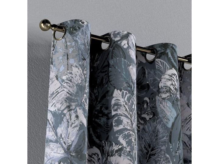 Zasłona na kółkach 1 szt., niebiesko-szare liście na szaro-niebieskim tle, 1szt 130 × 260 cm, Abigail 130x260 cm Zasłona zaciemniająca Bawełna Wzór Kwiaty