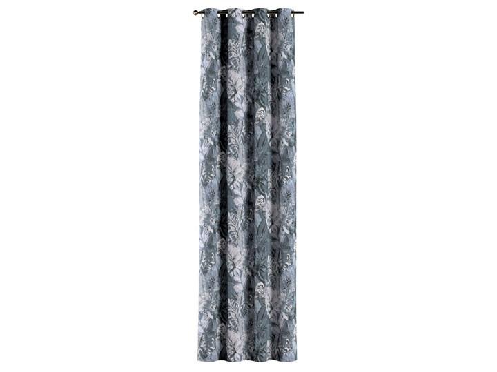 Zasłona na kółkach 1 szt., niebiesko-szare liście na szaro-niebieskim tle, 1szt 130 × 260 cm, Abigail Zasłona zaciemniająca 130x260 cm Bawełna Pomieszczenie Jadalnia Kolor Szary
