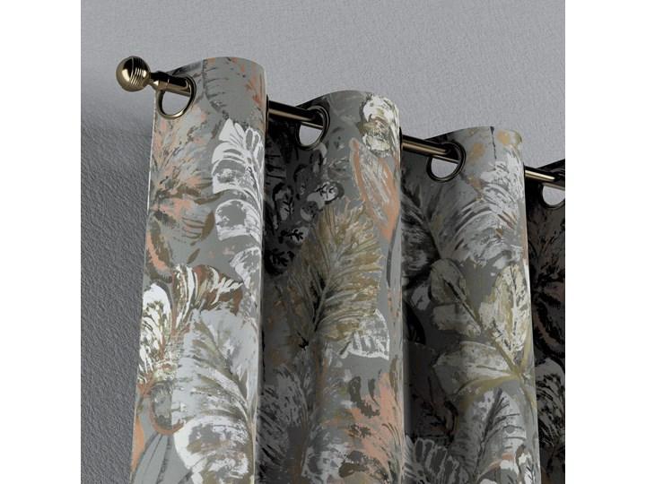 Zasłona na kółkach 1 szt., brązowe, beżowe, morelowe kwiaty na szarym tle, 1szt 130 × 260 cm, Abigail Kategoria Zasłony 130x260 cm Bawełna Zasłona zaciemniająca Pomieszczenie Salon