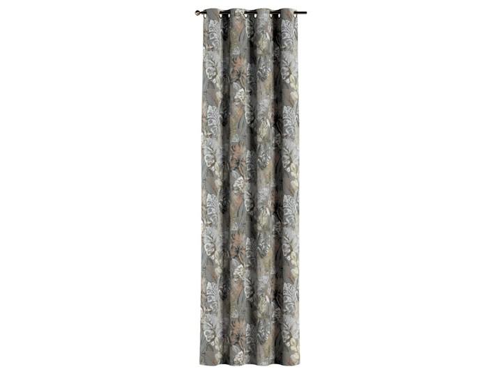 Zasłona na kółkach 1 szt., brązowe, beżowe, morelowe kwiaty na szarym tle, 1szt 130 × 260 cm, Abigail Zasłona zaciemniająca Pomieszczenie Jadalnia 130x260 cm Bawełna Pomieszczenie Salon