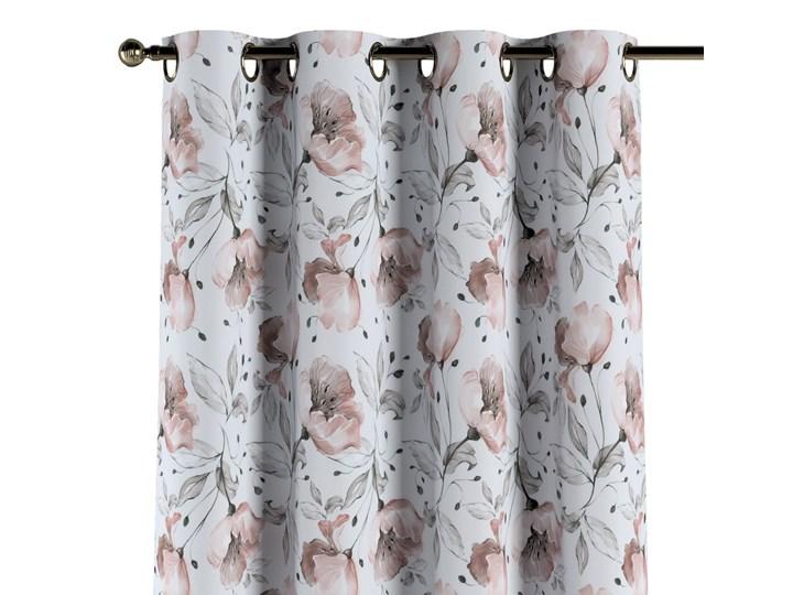 Zasłona na kółkach 1 szt., różowe kwiaty na kremowym tle, 1szt 130 × 260 cm, Velvet Kolor Różowy 130x260 cm Poliester Zasłona prześwitująca Kategoria Zasłony