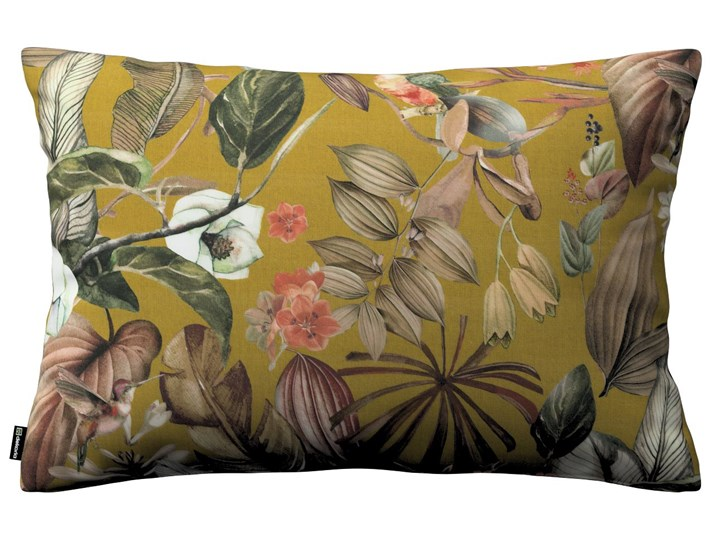Poszewka Kinga na poduszkę prostokątną, kwiaty na musztardowym tle, 60 × 40 cm, Abigail 40x60 cm Prostokątne Bawełna 45x65 cm Poszewka dekoracyjna Wzór Z nadrukiem