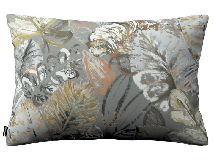Poszewka Kinga na poduszkę prostokątną, brązowe, beżowe, morelowe kwiaty na szarym tle, 60 × 40 cm, Abigail Poszewka dekoracyjna 45x65 cm Prostokątne 40x60 cm Bawełna Pomieszczenie Salon