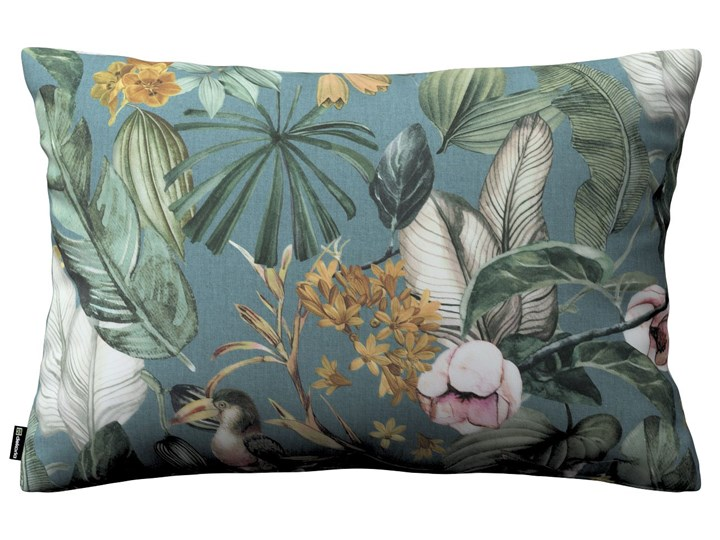 Poszewka Kinga na poduszkę prostokątną, kwiaty na zielono-niebieskim tle, 60 × 40 cm, Abigail 40x60 cm Bawełna Prostokątne Pomieszczenie Salon Poszewka dekoracyjna 45x65 cm Kategoria Poduszki i poszewki dekoracyjne